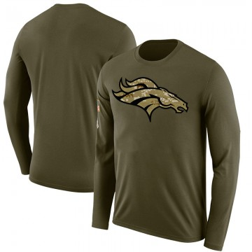 Men's Blank Denver Broncos Salute to Service Sideline Olive Legend Long Sleeve T-Shirt