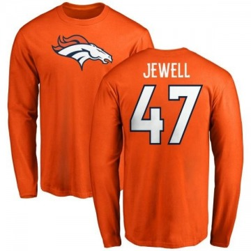 Men's Josey Jewell Denver Broncos Name & Number Logo Long Sleeve T-Shirt - Orange