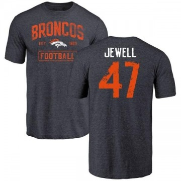 Men's Josey Jewell Denver Broncos Navy Distressed Name & Number Tri-Blend T-Shirt
