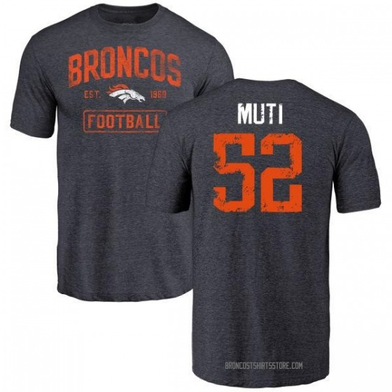 Men's Netane Muti Denver Broncos Navy Distressed Name & Number Tri-Blend T-Shirt