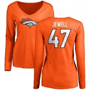 Women's Josey Jewell Denver Broncos Name & Number Logo Slim Fit Long Sleeve T-Shirt - Orange