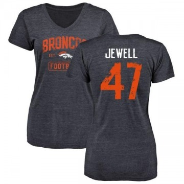Women's Josey Jewell Denver Broncos Navy Distressed Name & Number Tri-Blend V-Neck T-Shirt