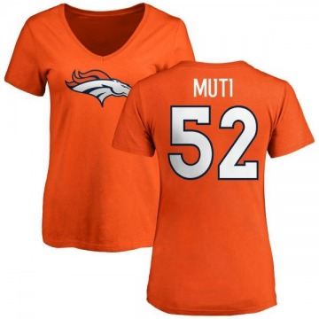 Women's Netane Muti Denver Broncos Name & Number Logo Slim Fit T-Shirt - Orange